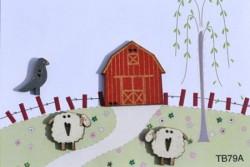 """Bouton en bois """"Etable et Moutons"""""""