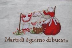 """Fiche de broderie au point de croix de Serenita di Campagna """" Martedi"""""""