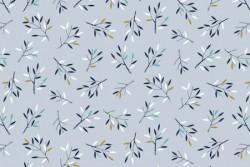 Tissu Dashwood Norrland rameaux sur fond gris bleuté