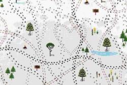 Tissu Recherche de traces dans la forêt sur fond blanc