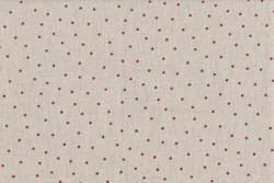 Tissu Stof Shabby Chic Petits points bordeaux sur fond lin clair