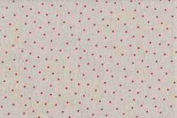"""Tissu patch Shabby Chic """"Petits pois Rouges""""sur fond écru"""