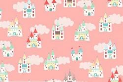 "Tissu ""Tutu Fairy Castles"" Chateaux sur fond rose camay"
