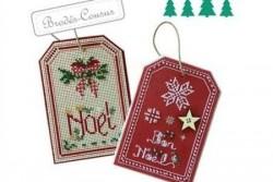 """Kit brodés-cousus """"Noël : Étiquette nœud/flocons """""""