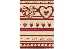 Tissu Patchwork  christmas greetings  panneau bandes de motifs écru et rouges