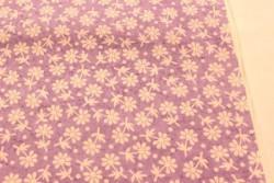 fleurs blanches sur fond parme Stof, les tissus patchwork P6822