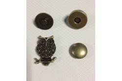 """bouton pression aimanté en forme de hibou """" couleur bronze """""""
