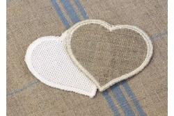 Cœur prêt à broder lin naturel ou Aïda blanc