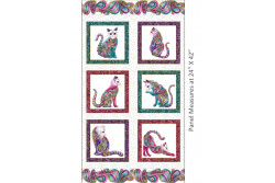 "Tissu patch de Benartex Cat-i-tude "" 6 poses de chats sur fond blanc"""