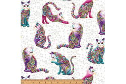 "Tissu patch de Benartex Cat-i-tude "" Chats multicolores sur fond blanc"""