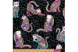 "Tissu patch de Benartex Cat-i-tude "" Chats multicolores sur fond noir"""