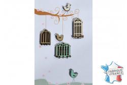 """Bouton en bois """"Oiseaux et cages """""""