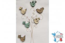 """Bouton en bois """"Oiseaux qui chantent verts et beiges"""""""
