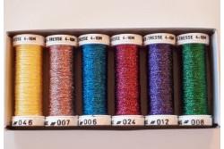 """Pack de 6 bobines de fils métallisés """"Acidulées"""""""