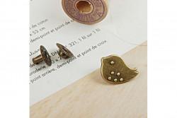 bouton pression oiseau couleur bronze