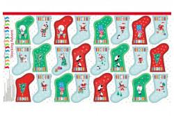 "Tissu patch Panneau 24 mini bottes ""Jolly Santa"""