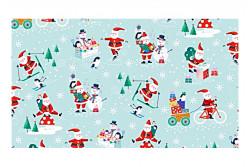 "Tissu Patch ""Jolly Santa Scénic"" motifs sur fond bleu"