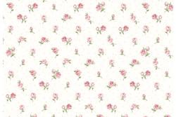 """Tissu patch """"Vintage roses"""" mini roses sur fond ivoire"""