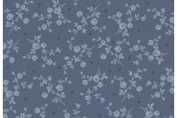 """Tissu patch """"Vintage roses"""" faux uni sur fond bleu ancien"""