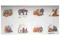 Tissu Couture pour enfant panneau ourson sur fond tilleul
