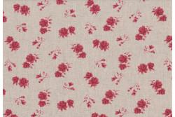 Tissu Stof Shabby Chic Petites roses foncées sur fond lin clair