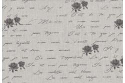 "Tissu Stof ""Shabby Chic"" Petites roses noires sur fond lin clair"